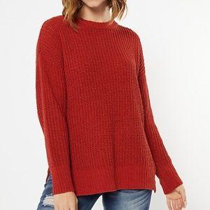 Burnt Orange Chenille Side Slit High Low Sweater